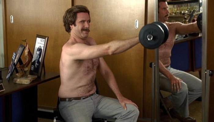 The anchorman working out