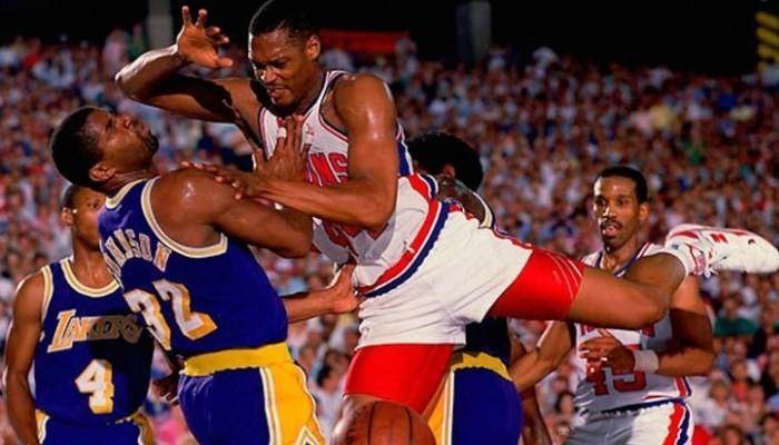 Mahorn playing basketball