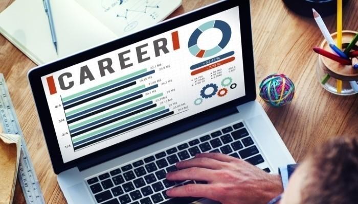 career website on laptop