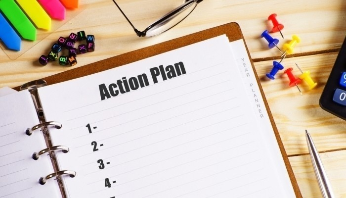 action plan in notebook