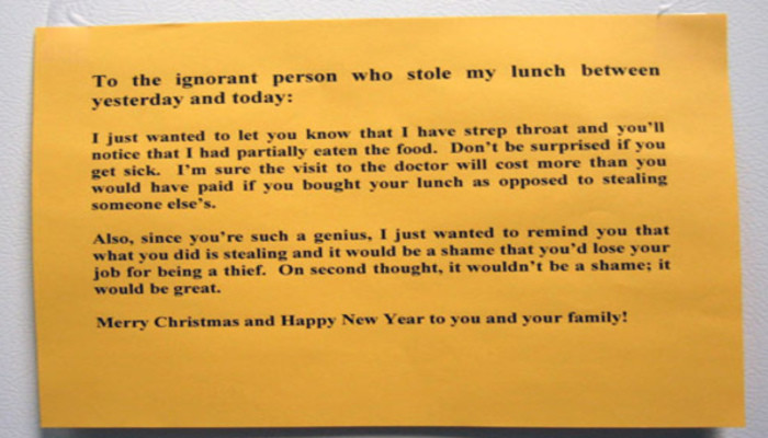 top 10 hilarious stolen lunch notes
