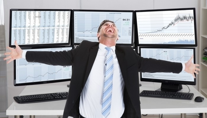 happy stock broker laughing