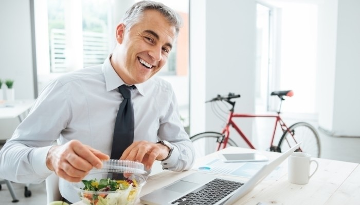 man ready to eat salad