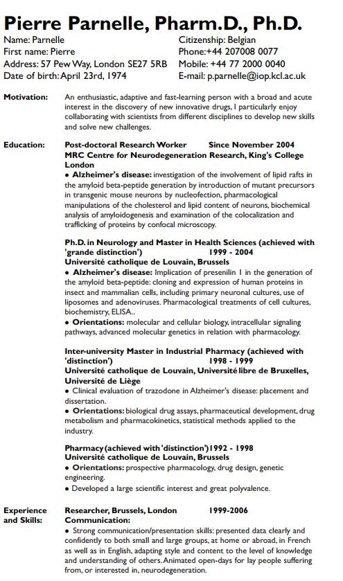 Doctoral resume