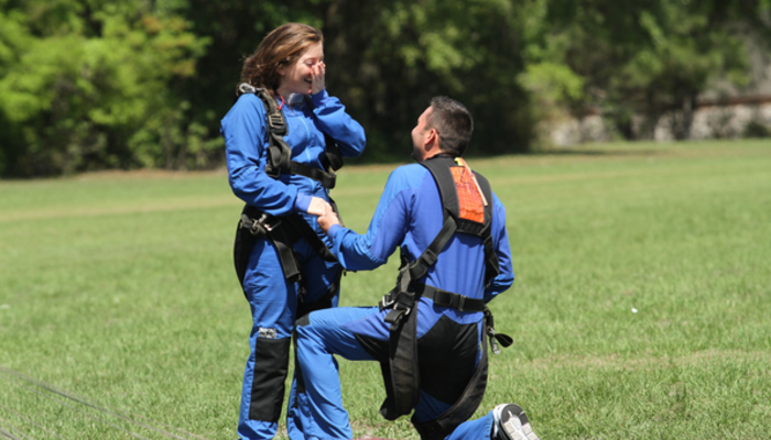 Skydiving wedding proposal
