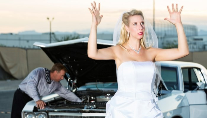 Car breakdown wedding