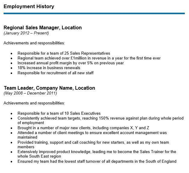 Career changer employment history