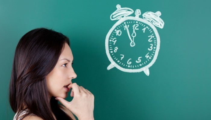 woman thinking about time