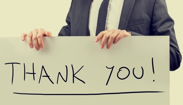 businessman says thank you