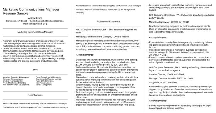 management cv examples