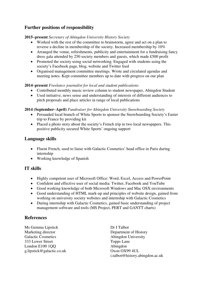 how to write a graduate cv  template   examples