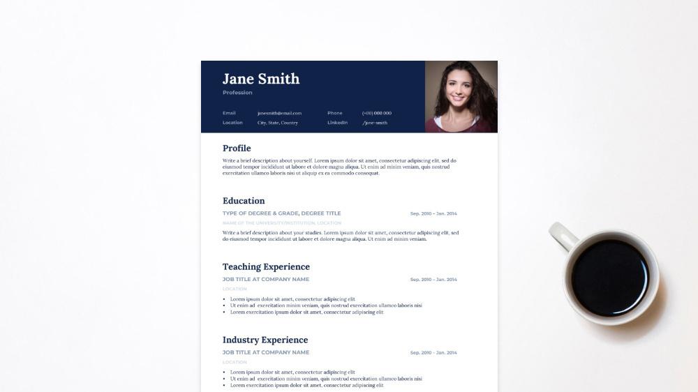 Blue Standard CV Template