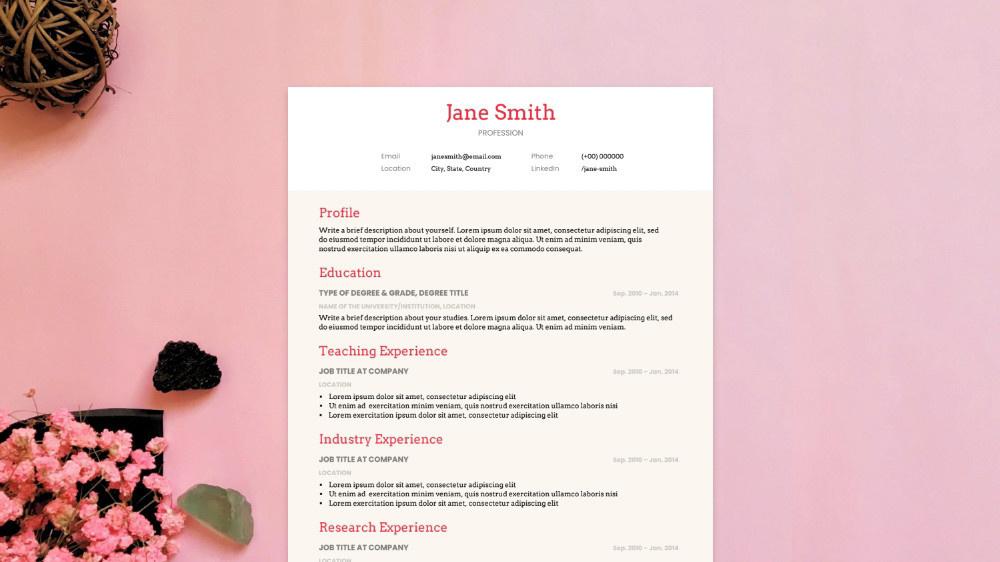 Soft Tone CV Template