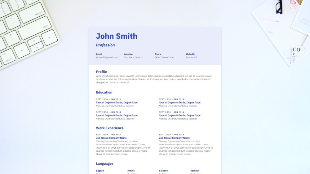 Memorable CV Template